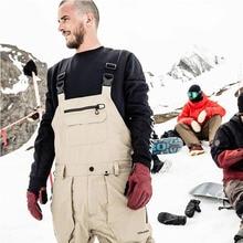 Dmt. Pstvm мужские лыжные брюки с лямками черного цвета и цвета хаки, водонепроницаемые спортивные брюки, длинные штаны из плотной ткани, утолщенные Длинные мужские штаны
