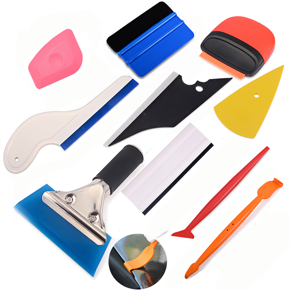 FOSHIO Carbon Fiber Magnetic Stick Squeegee Film Install Vinyl Wrap Car Tools Set Auto Window Tint Tool Sticker Wrapping Scraper