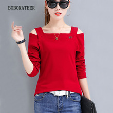BOBOKATEER tee shirt femme long sleeve tshirt sexy camisetas off shoulder t women o-neck shirts