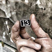 Lucky 13 prata cor anel de aço inoxidável biker anel masculino moda jóias tamanho 7-14