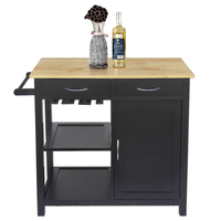 Black Solid Wood Kitchen Trolley Moveable Dining Shelf Storage Rack with 2 Drawers 2 Shelves Rack Storage Cabinet HWC