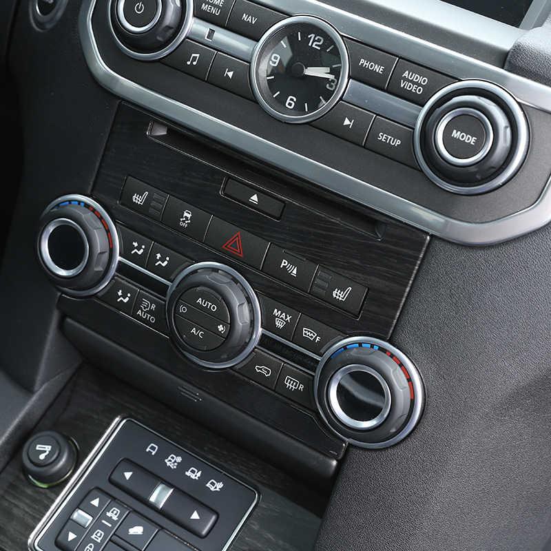 Dla Land Rover Discovery 4 LR4 2012-2016 akcesoria do stylizacji samochodów czarne drewno ABS wykończenie panelu sterowania konsolą