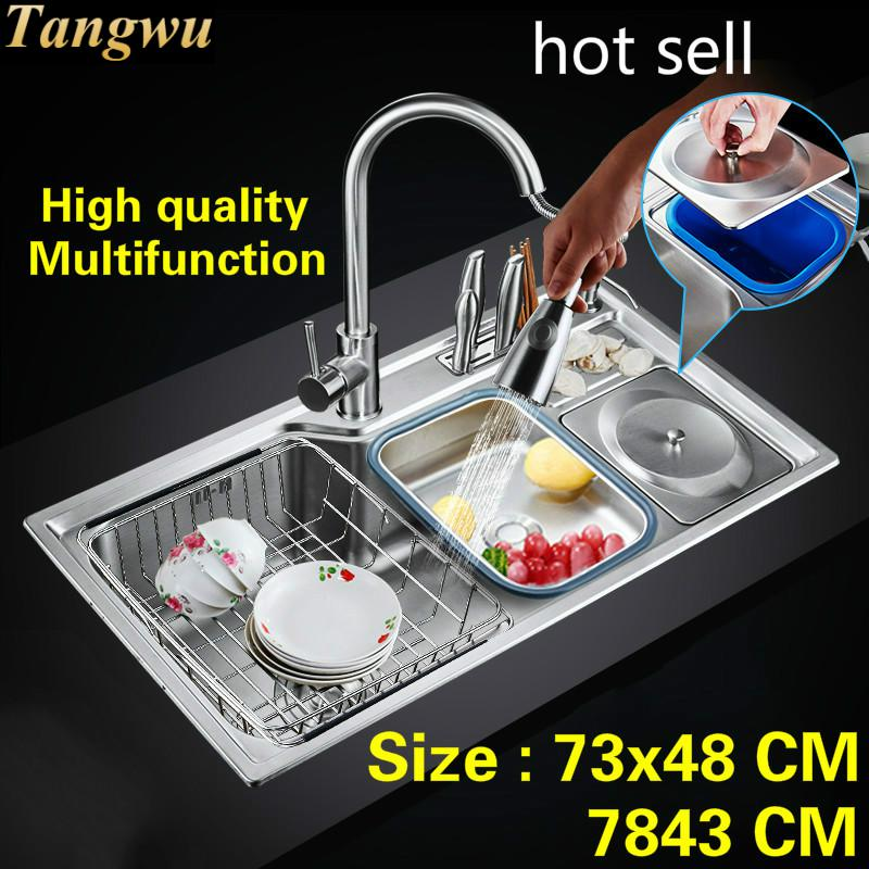 Free Shipping Standard Fashion Kitchen Sink Food Grade Stainless Steel Double Groove Fittings Complete Hot Sell 73x48/78x43 CM