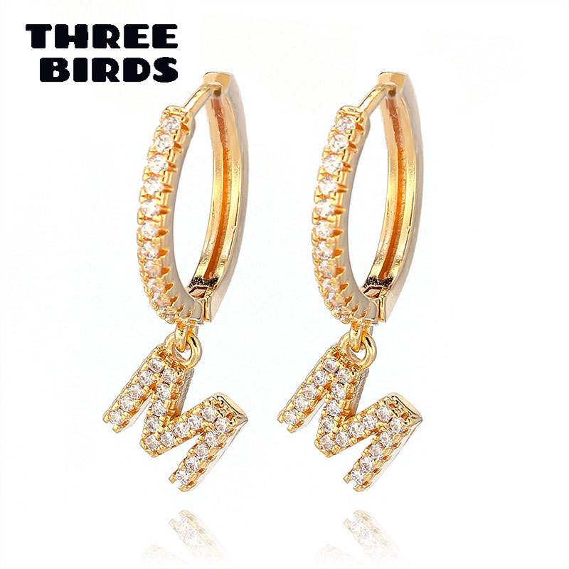 1 Pair Trendy Cubic Zirconia Initial Letter A-Z Earrings Silver Gold Small Hoop Earrings For Women Jewelry Oorbelen Orecchini