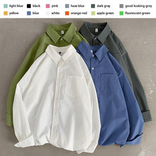 Camisas de manga comprida para homem solto casual 12 cores sólido clássico quatro estações casaco camisa fina blusa tops plus size roupas masculinas