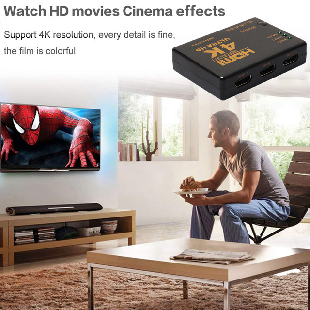 4K 2K 3x1 HDMI Cable Splitter HD 1080P Video Switcher Adapter 3 Input 1 Output Port HDMI Hub for Xbox PS4 DVD HDTV PC Laptop TV