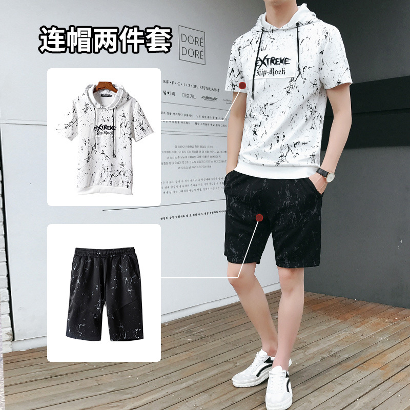 Hoodie Suit Men's Spring Summer Sports Casual Wear New Style Short Sleeve T-shirt A Set Of Clothes Men's Shorts Set