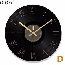 Большие виниловые настенные часы ретро Роскошные промышленные