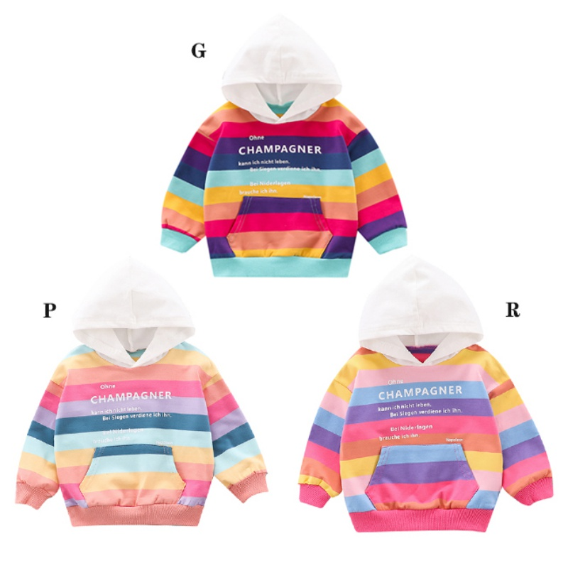 Kids Sweatshirts Hoodie Letters Toddler Baby-Boy Autumn Cute Striped with Pocket Casual