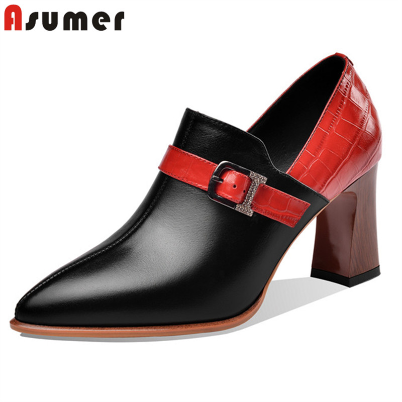 ASUMER 2020 New Arrive Women Pumps Genuine Leather Shoes Mixed Colors Buckle High Heels Spring Summer Single Shoes Woman