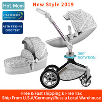 Hot Mom Baby Stroller 3 in 1 carriage with bassinet 360° Rotation Function,Luxury Pram with Free Gifts