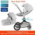 Hot transporte 3 em 1 Mãe Carrinho de Bebê com berço Função de Rotação de 360 °, Carrinho De Luxo com Brindes