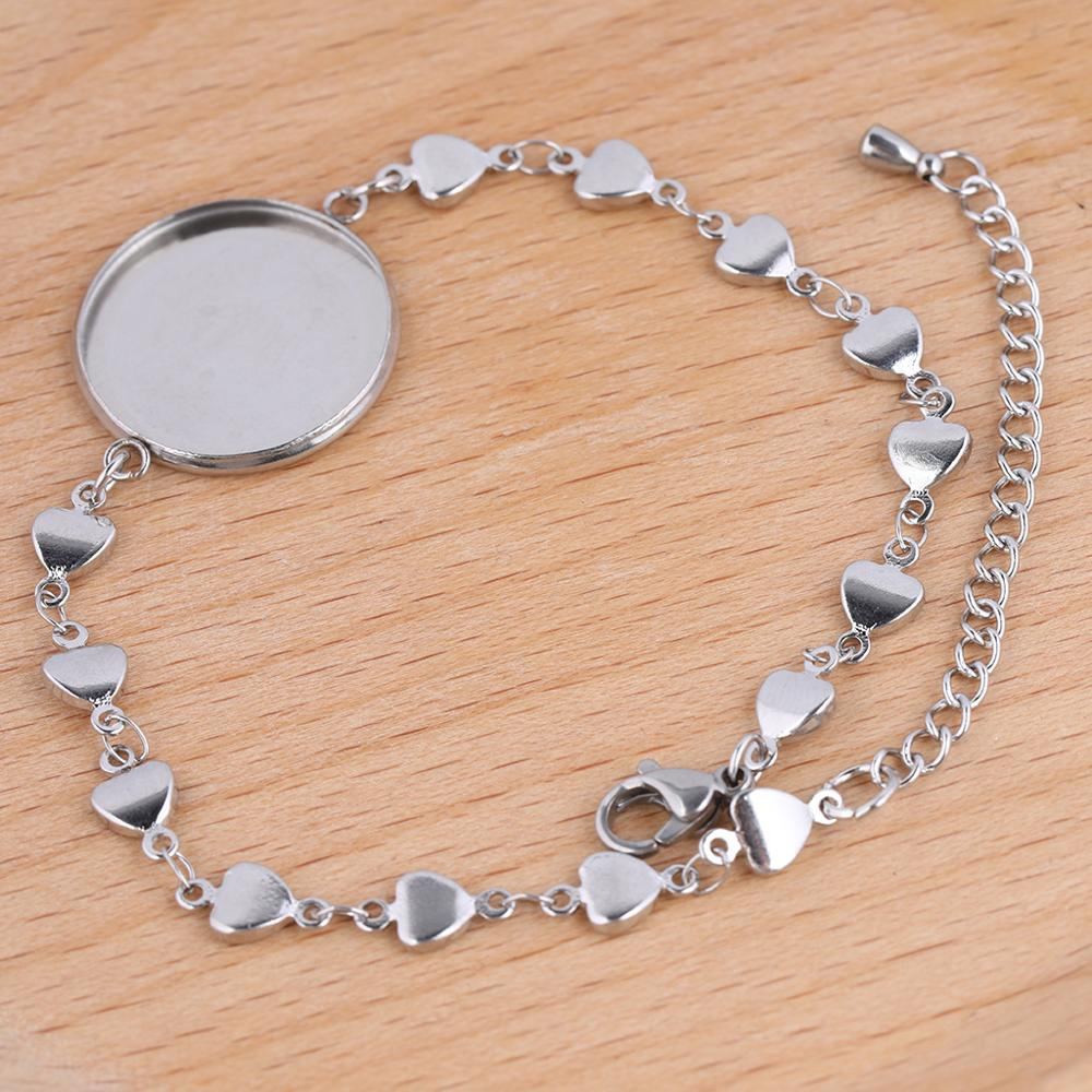 5pcs Stainless Steel Bracelet Base Blanks 20mm Cameo Cabochon Setting Trays For Bracelets Bangle Making Accessories