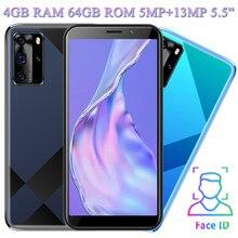4g ram 64g rom z10 desbloqueado 5.5 polegada 5mp + 13mp face id smartphones telefones celulares frente/câmera traseira wifi quad core versão global