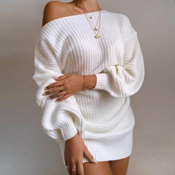 The hottest ladies casual off-shoulder lantern sleeve knitted sweater dress dresses for women white dress image