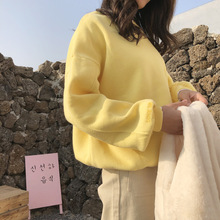 2019 Autumn Sanitary Clothes New Catching Down Pure Colour Pullover Pullovers Fashion Sweatshirt Women