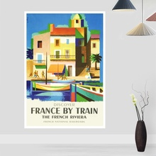 Vintage viaje nostálgico La riazul francesa póster lienzo artístico póster sala de estar hogar Decoración de la pared (sin marco)