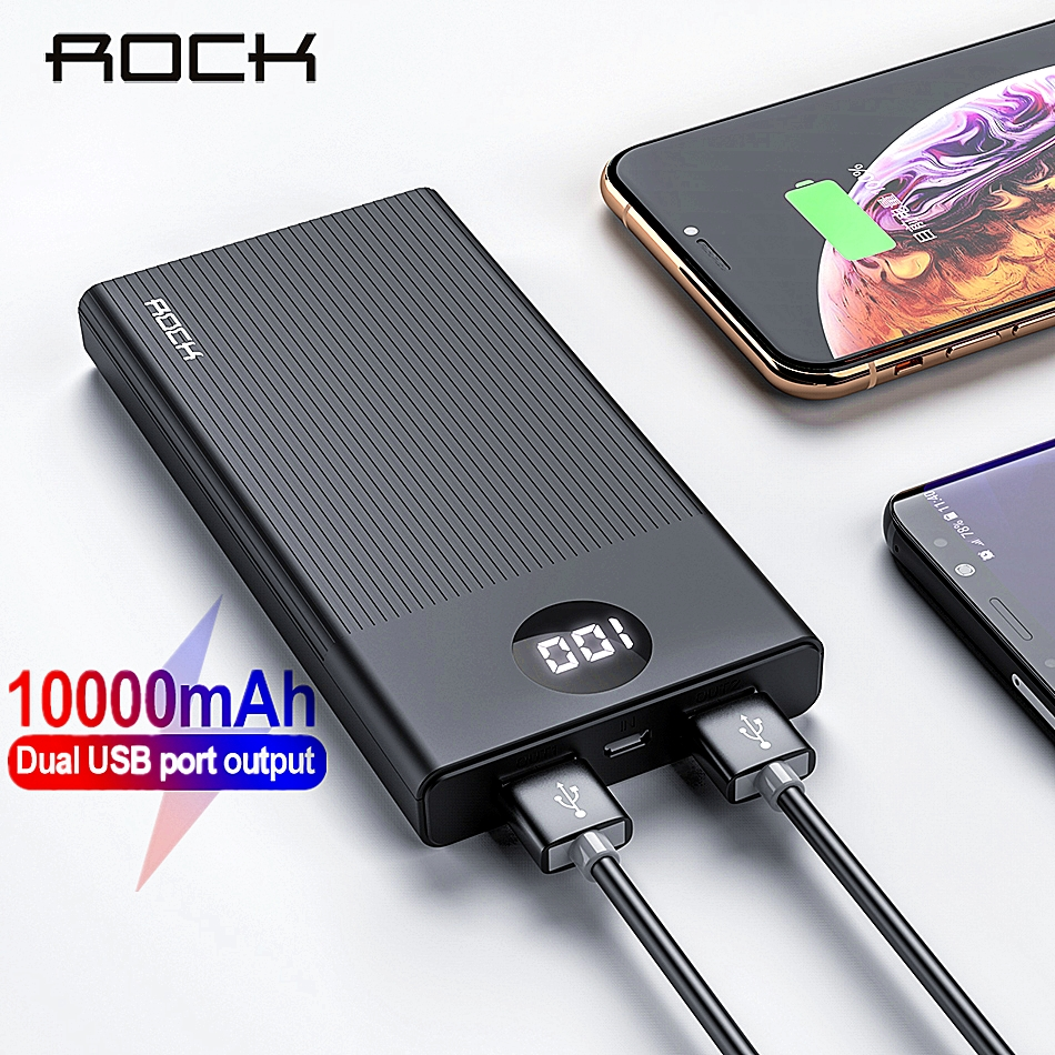 ROCK Power Bank 10000mAh Portable Charging PowerBank 10000 MAh USB PoverBank External Battery Charger For Xiaomi Mi 9 8 IPhone