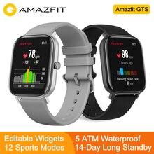 """Amazfit GTS глобальная версия Смарт спортивные часы gps 5ATM водонепроницаемые 1,65 """"AMOLED дисплей Editable Widgets 14 дней Срок службы батареи часы"""