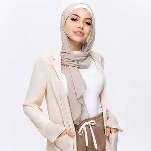 Image 3 - Мусульманский шарф, женский простой пузырьковый шифоновый хиджаб, шарф, мягкие длинные мусульманский головной платок, жоржетты, шарфы, хиджабы 50 цветов