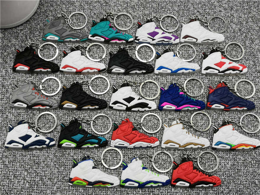 New Mini AJ 6 Shoe Keychain Fashion Men Women Kid Key Ring Gift Retro Basketball  Jordan Sneaker Key Chain Key Holder Porte Clef