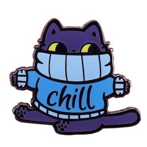 Chill fat cat твердая эмалированная булавка милый синий свитер брошь в виде кошки забавные зимние украшения Рождественский подарок