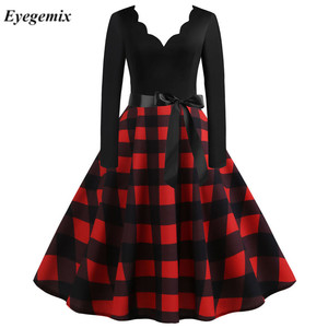 Vintage Plaid Print Christmas Dress Women Casual Patchwork Party Dress Musical Note Robe 50S 60S Rockabilly Swing Pinup Vestidos(China)