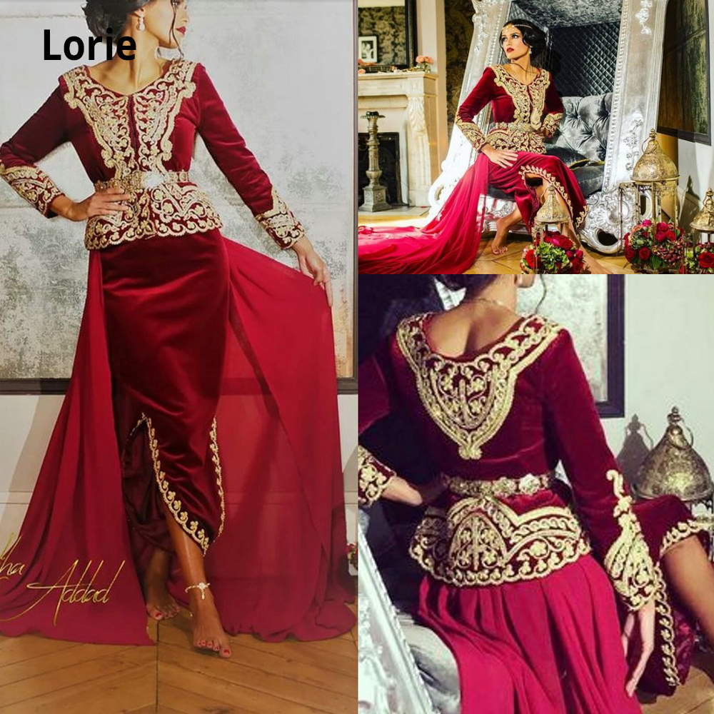 Lorie Caftan Karakou Algerien Formal Prom Dresses With Long Sleeve 2019 Burgundy Velvet Gold Lace Peplum Occasion Evening Gowns