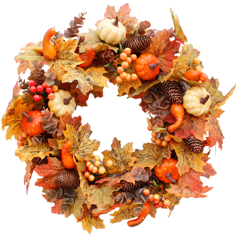 Silk Autumn Wreath Christmas Decoration Thanksgiving Rattan Material Garland Window Restaurant Home Decoration Fall Wreath Door-5