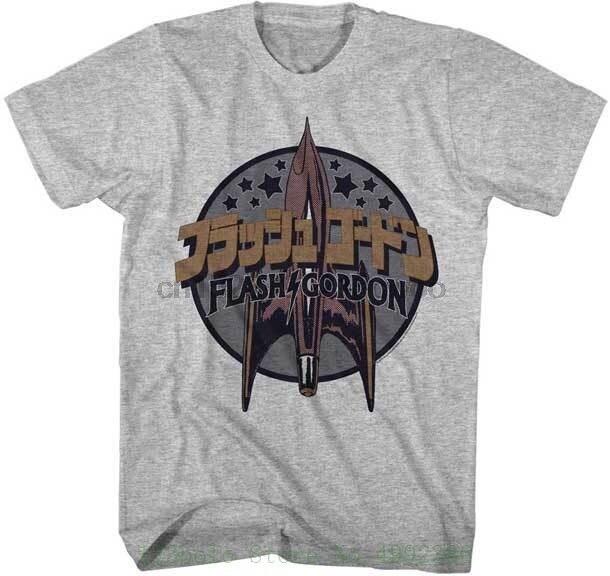 Flash Gordon Film Vaisseau Spatial Avec Japonais Lettrage Adulte T Shirt Fashion Black Sale 100 % Cotton(China)