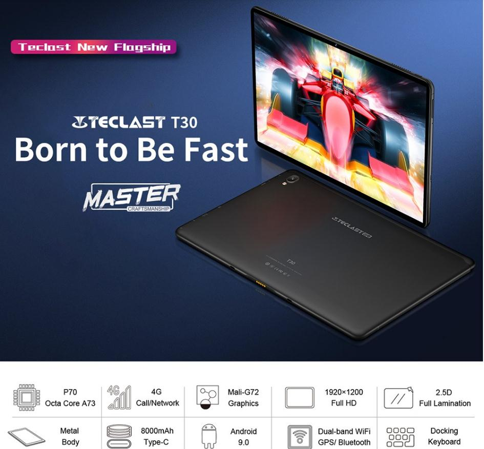 Teclast T30 10.1 cala 4G Phablet Android 9.0 Helio P70 2.1GHz octa core CPU 4GB DDR4 RAM 64GB eMMC ROM 8.0MP aparat Tablet PC