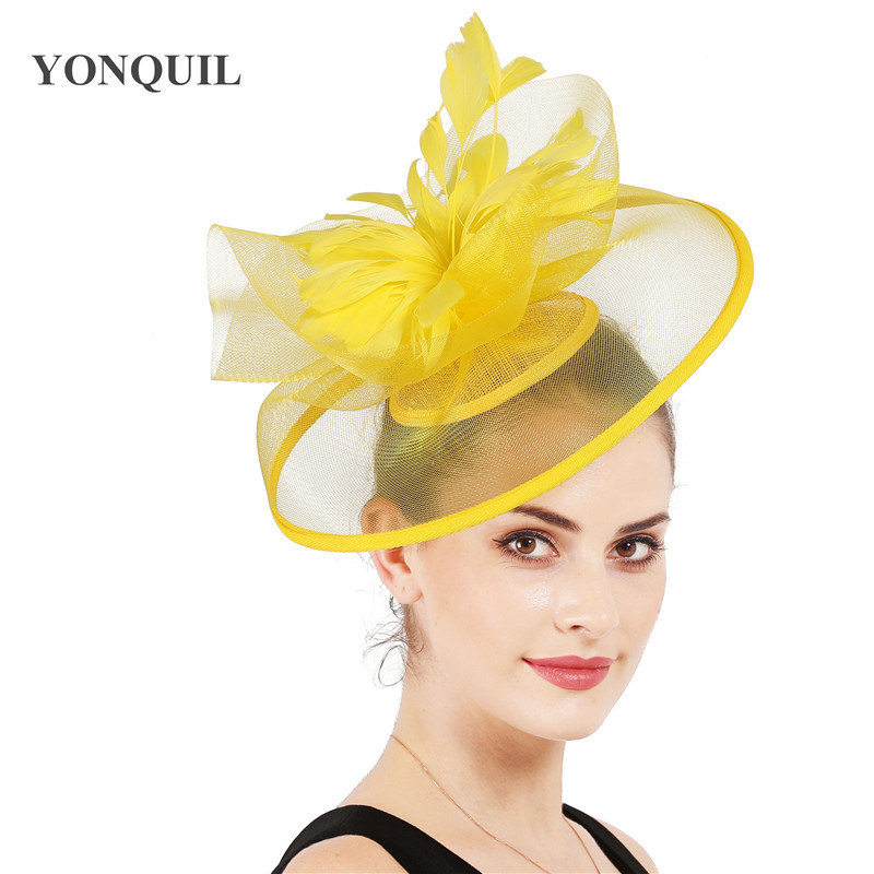 yellow feather headband fascinator millinery hair piece Bridal ascot wedding hat