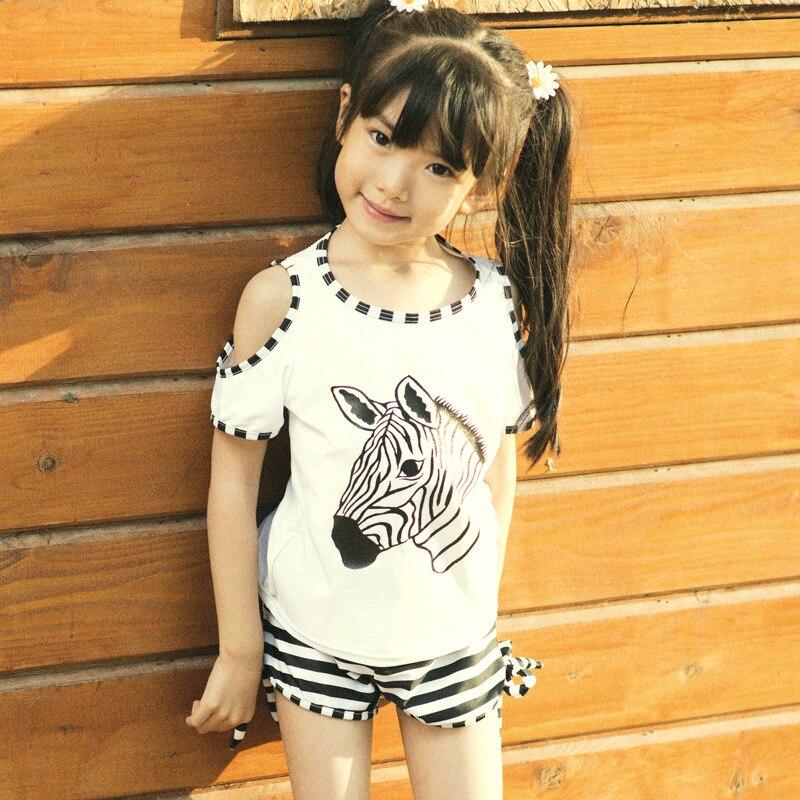 Girls Split Type Tour Bathing Suit Two Piece Set Large Cover-up South Korea Black And White Stripe Boxer Small Children Bubble H