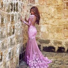 Женское вечернее платье Русалка smileven розовое с длинным рукавом