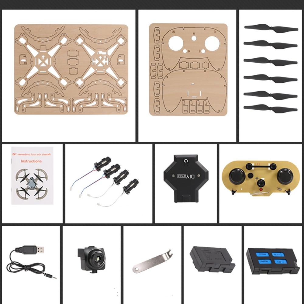 Enfants enfant en bois Drone poche course RC en bois assemblé quadrirotor avec caméra HD 2.4GHz télécommande jouets Drone Kit - 5