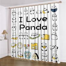 2 панели панды окна занавески s мультфильм животных салоны обработки