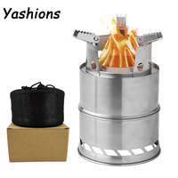 Portable Outdoor stainless steel firewood stove picnic barbecue stove CAMPING FOLDING firewood stove Wood Fuel Furnace