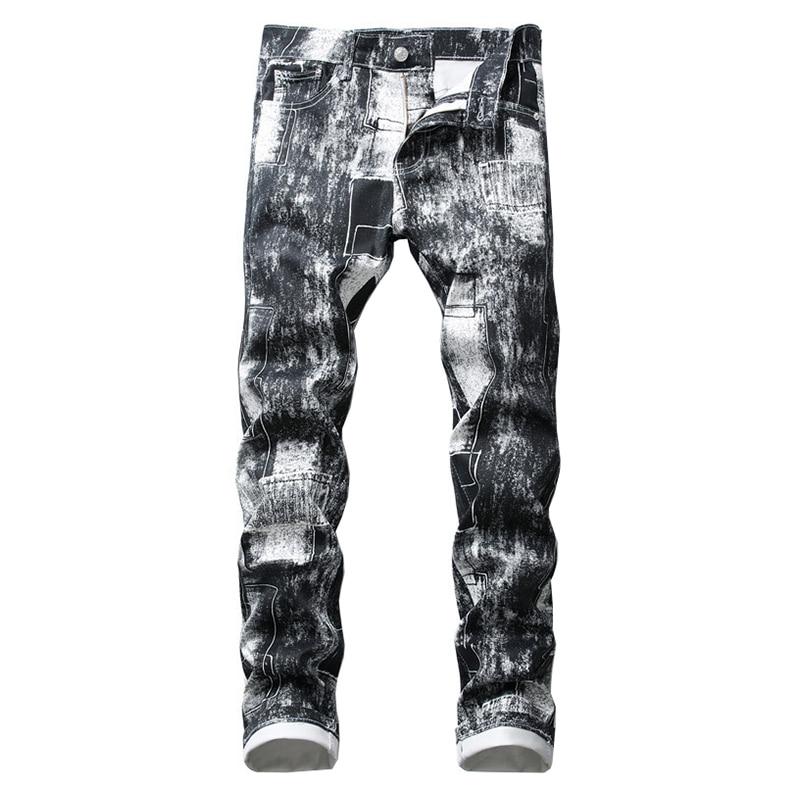 Men's slim fit black printed white jeans Fashion smoky gray stretch pants