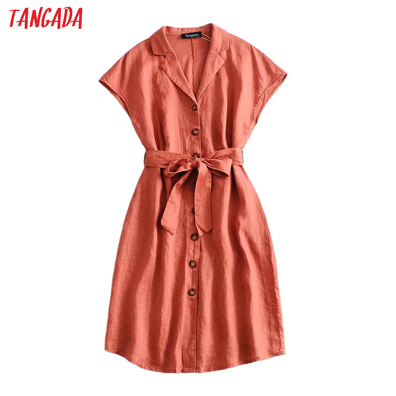 Tangada fashion women solid cotton linen summer dress with slash short sleeve ladies work midi dress vestidos 3A29