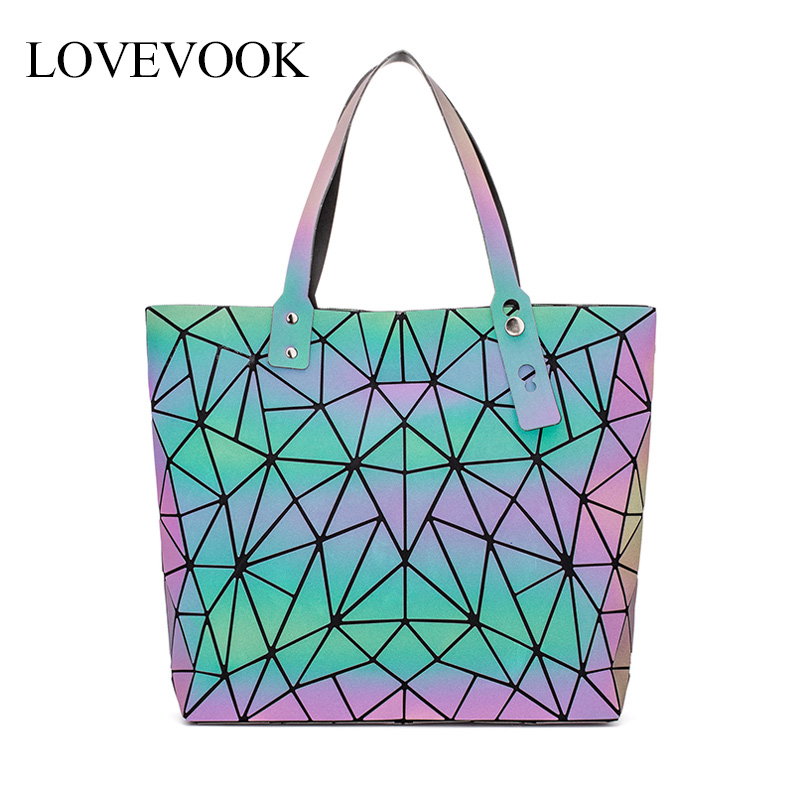 Lovevook Women Shoulder Bags Luxury Handbag Women Bags Designer Foldable Tote Bag Female Large Capacity Geometric Luminous Bag