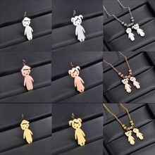 Stainless Steel Son Daughter Pendant Necklace Children Loving Family Jewelry