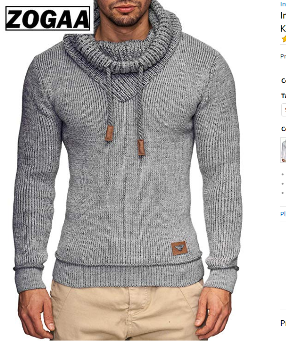 ZOGAA Sweater Men 2019 Brand Male Long Sleeve Solid Color Hooded Mens Sweater Men Fashion Casual Gray Black Slim Mens Sweaters