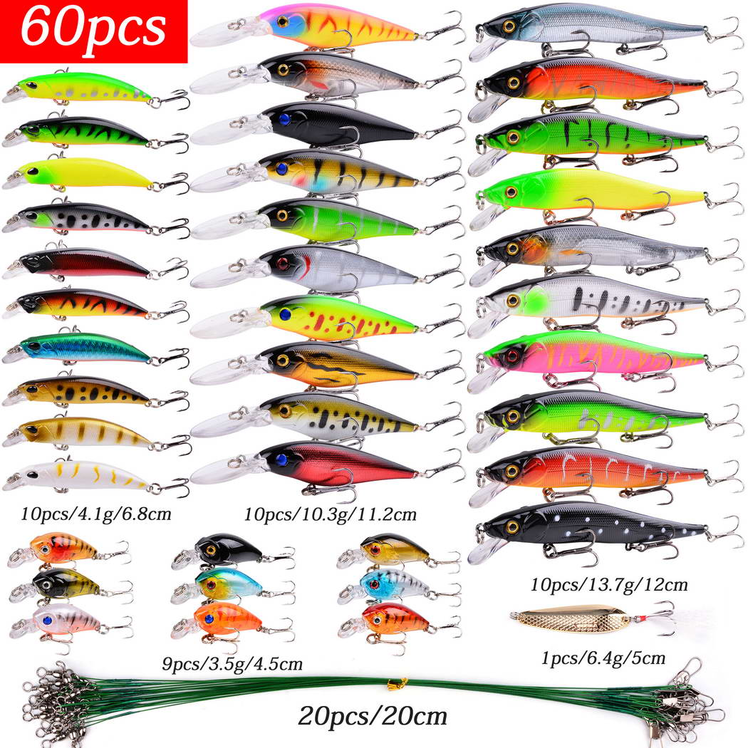 20-60 Pcs Artificial Bait Fishing Lures Set Top Water Carp Wobblers Kit Tackle Suit Sale Hard Bait Minnow Fish Lure Set