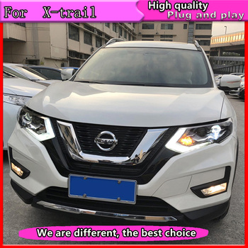 Car Styling for Nissan X-Trail Headlights 2014-2016 for X-Trail LED Headlight DRL Lens Double Beam H7 HID Xenon bi xenon