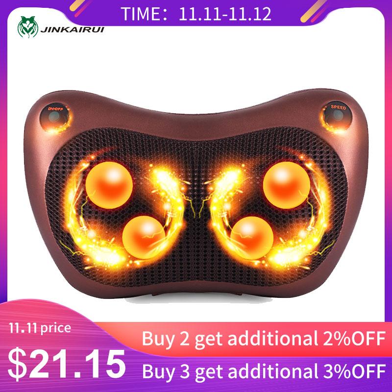 JinKaiRui Electric Infrared Heating Kneading Neck Shoulder Back Body Spa Massage Pillow Car Chair Shiatsu Massager Masaj Device