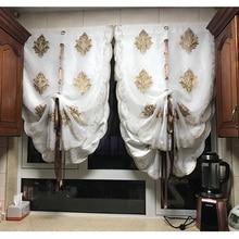 Golden Wonder European Style Balloon Curtains Tulle Cloth Valance Kitchen Curtain Door Window Decoration White Color