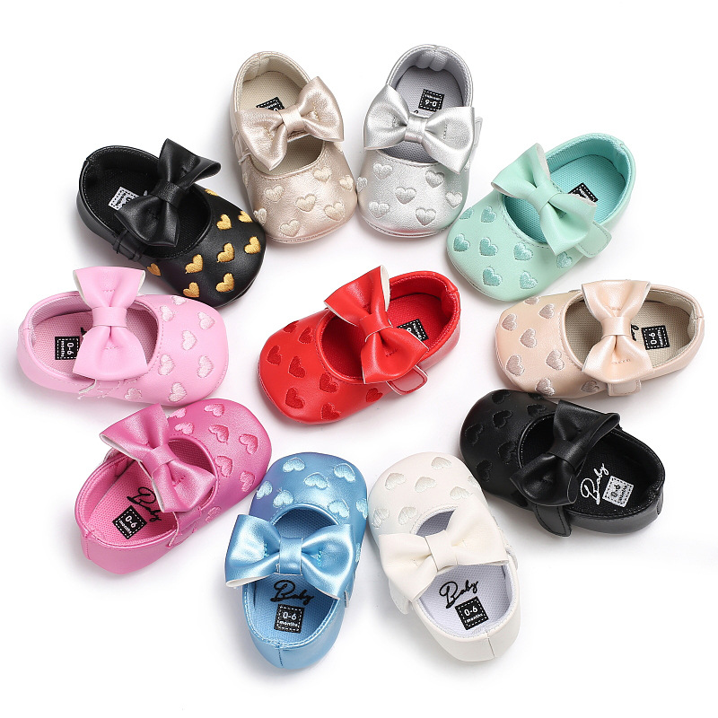 Newborn Baby Shoes Girl Fashion Princess Lovely Bowknot PU Solid Colours Soft Sole Anti-slip Crib First Walker Toddler Shoes