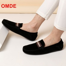 OMDE New Fashion Cow Suede Loafers Mens Shoes Summer Soft Leather Man Shoes Slip On Casual Shoes Men Driving Shoes Mocassin suede slip on mens shoes