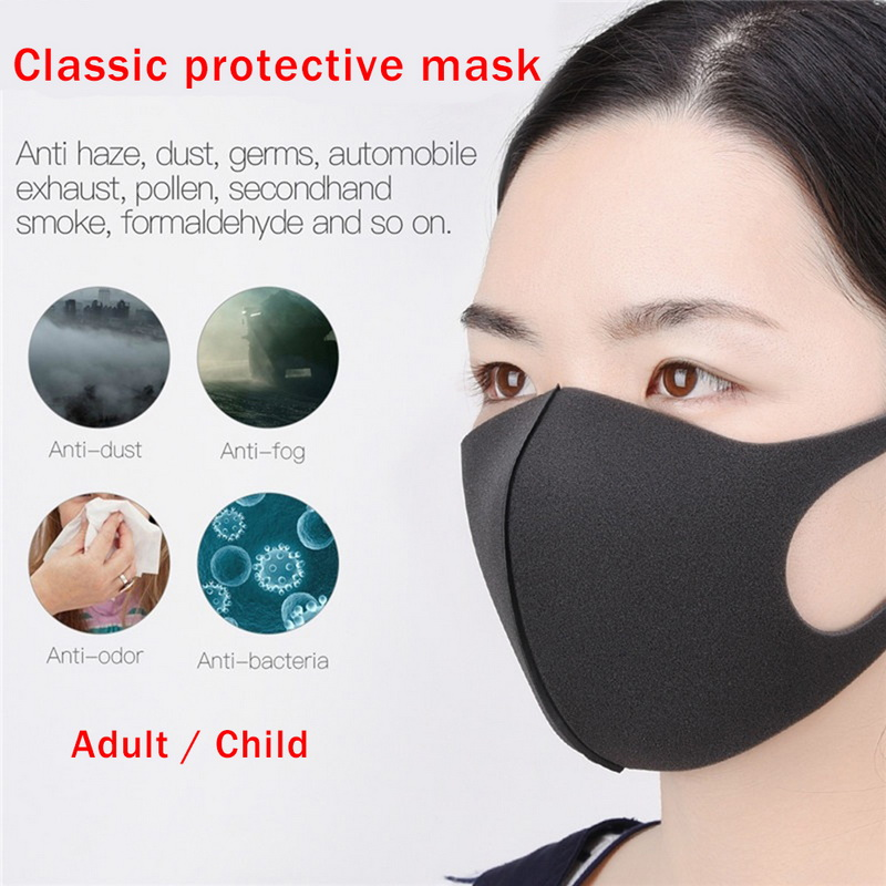 Hot Washable Earloop Facial Mask Cycling Anti Dust Warmer Environmental Mouth Face Mask Fashion Black Mask For Adult Children