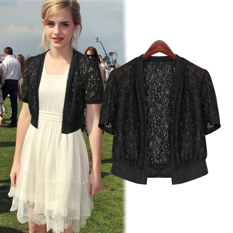 Black White Prom Evening Dress Jacket Bridesmaid Wedding Jacket Cape Short Sleeve Shrug Bolero Women Lace Wedding Bridal Jacket